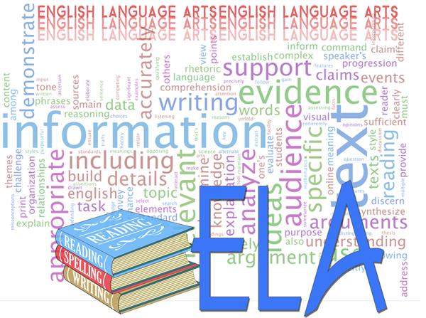 image of reading, spelling, and writing books with English language Arts word cloud