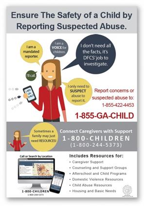 poster stating suspected abuse hotline with number 1-855-GA-CHILD