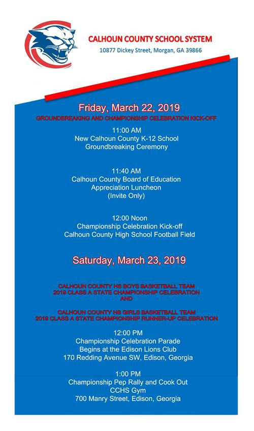 JPEG picture of invitation from Calhoun County Schools to groundbreaking and championship celebration kickoff on friday march