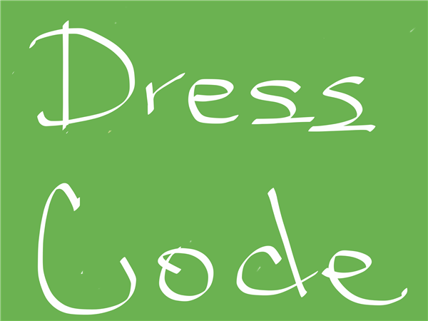 Words Dress Code on green background