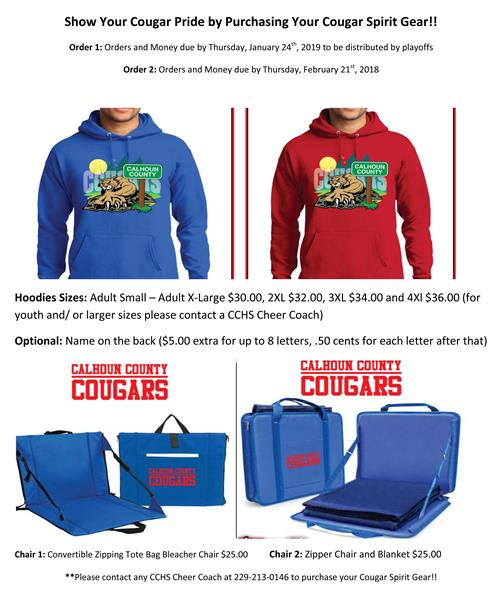 Form to order a Blue or Red Cougar hoodie and stadium chairs