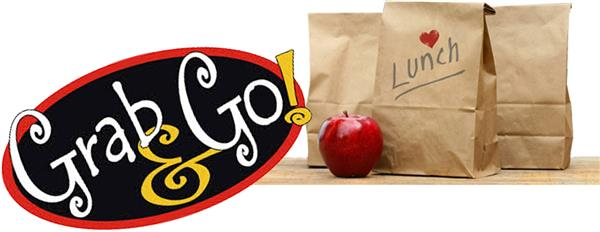 Grab and go logo with Lunch bags