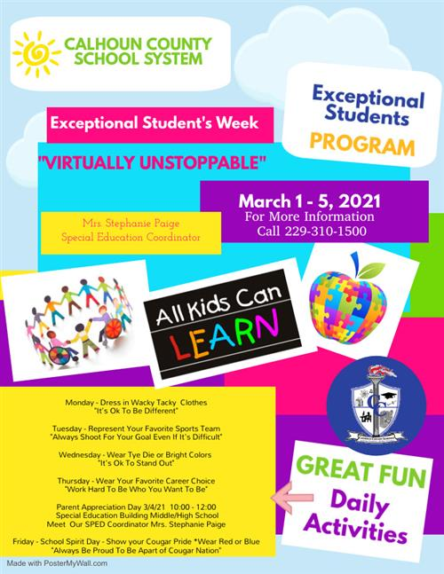 Flyer for Exceptional Studnet's Week