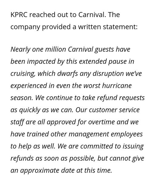 Information from Carnival Cruise line