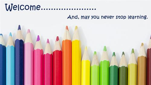 crayons and image reads welcome kindergateners may you never stop learning.