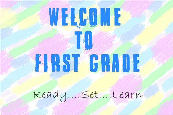 multicolored image with text that reads first grade read set learn