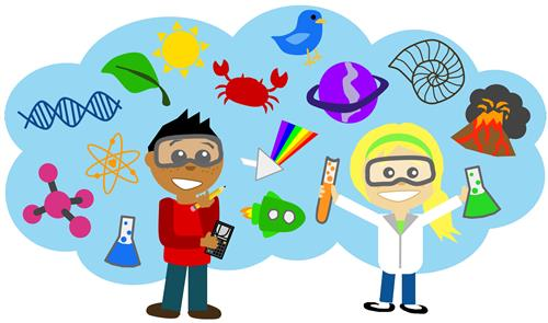 cartoon boy and girl in science cloud
