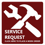 Service request sign with a hammer and wrench